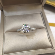Moissanite Ring Silver Moissanite Ring 1ct 2ct Round Cut 925 Silver Gold Plated Classic 6prongs Women Solitaire Rings