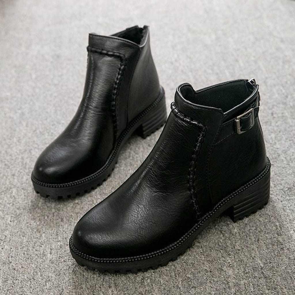 ผู้หญิงสบายๆรองเท้าบูทฤดูหนาว Retro หนังข้อเท้ารองเท้าบูท Rome สไตล์แฟชั่น Lady รองเท้าส้นสูงกลางรองเท้าส้นสูงแพลทฟอร์มสายคล้องคอ botas