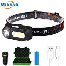 Mini USB Di Động Đèn Pha LED Ngoài Trời XPE COB Sạc USB Cắm Trại Đánh Cá Đầu Đèn Ánh Sáng Đèn Pin