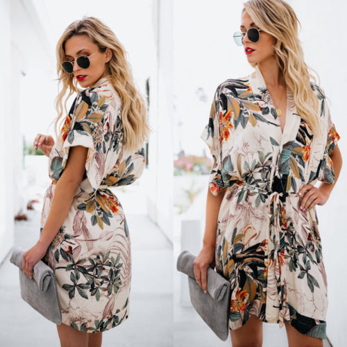 Summer Printed Floral Beach Short Dress Women Tunic Kaftan Bikini Cover Up Side Split Loose Swimwear Bathing Suits Sundress