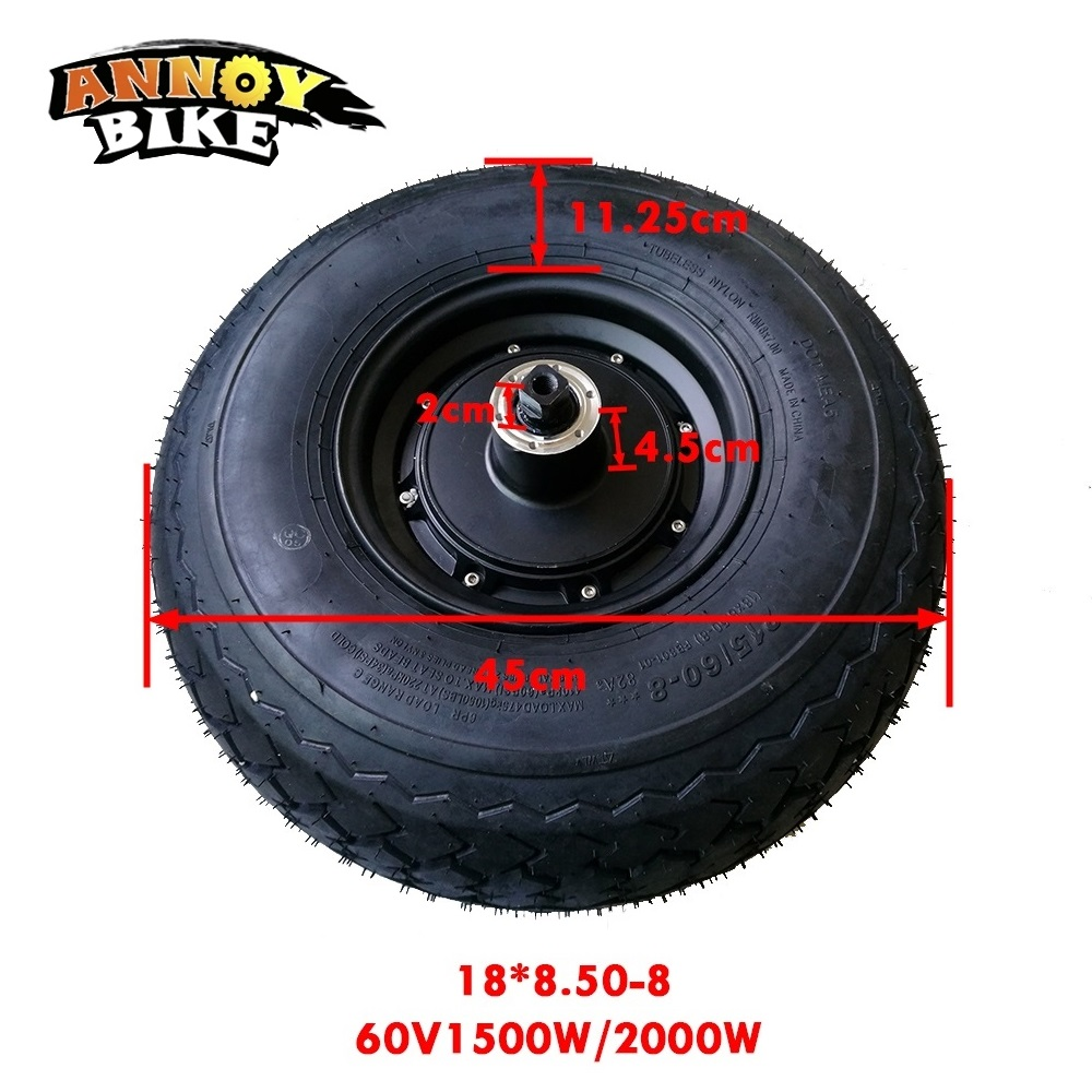 Kit de Motor de cubo para patinete eléctrico, rueda delantera de 60V, 1500W, 2000W, 18 pulgadas, neumático ancho 18x8,50-8