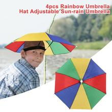 Useful Rainbow Umbrella Hat New and High Quality Lightweight Delicate Sun Shade Camping Fishing Hiking Adjustable Cap Set