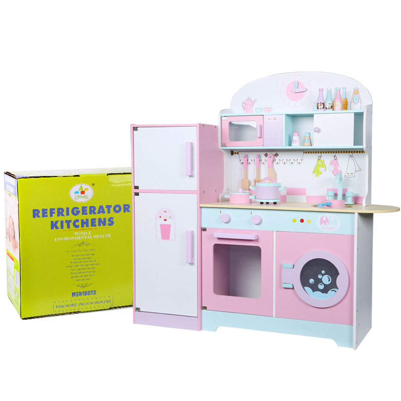 Children Enlightenment Wood Kitchen Refrigerator Kindergarten Early Childhood Parent-Child Home Toys COOK FUN Game