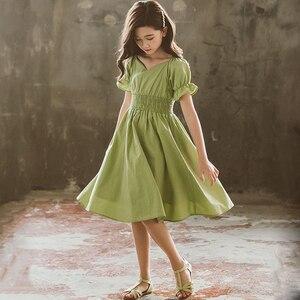 Детские платья для девочек на лето 2020, зеленое хлопковое платье для девочек-подростков, повседневная одежда для 5, 6, 7, 8, 9, 10, 11, 12, 14, 15 лет
