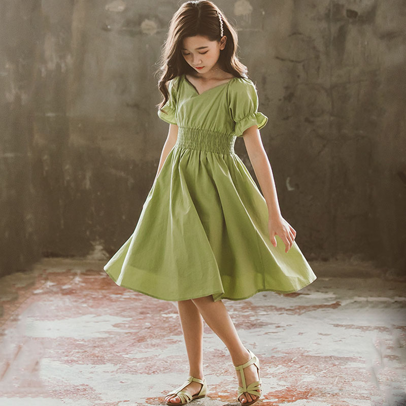 Kids Dresses For Girls Summer 2020 Cotton Green Children Teen Girl Dress Clothing Casual Clothes 5 6 7 8 9 10 11 12 14 15 Years image