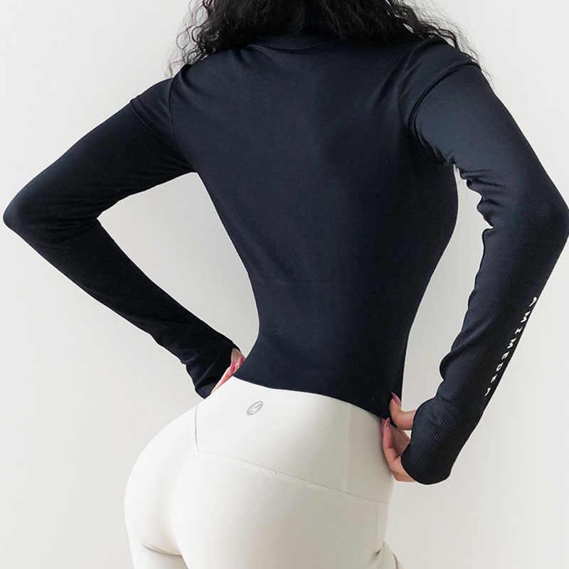 Women's Long Sleeves Crop top Sports Jersey Slim Fit shirt Fitness Yoga Top  Winter Workout Jacket Female Gym Shirts| | - AliExpress