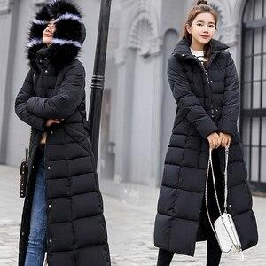 Image 5 - חורף נשים למטה מעיל ארוך סלעית אופנה שלג בגדים חם כותנה מרופדת ארוך שרוול מעיילים למטה מעיל עבור נקבה #734