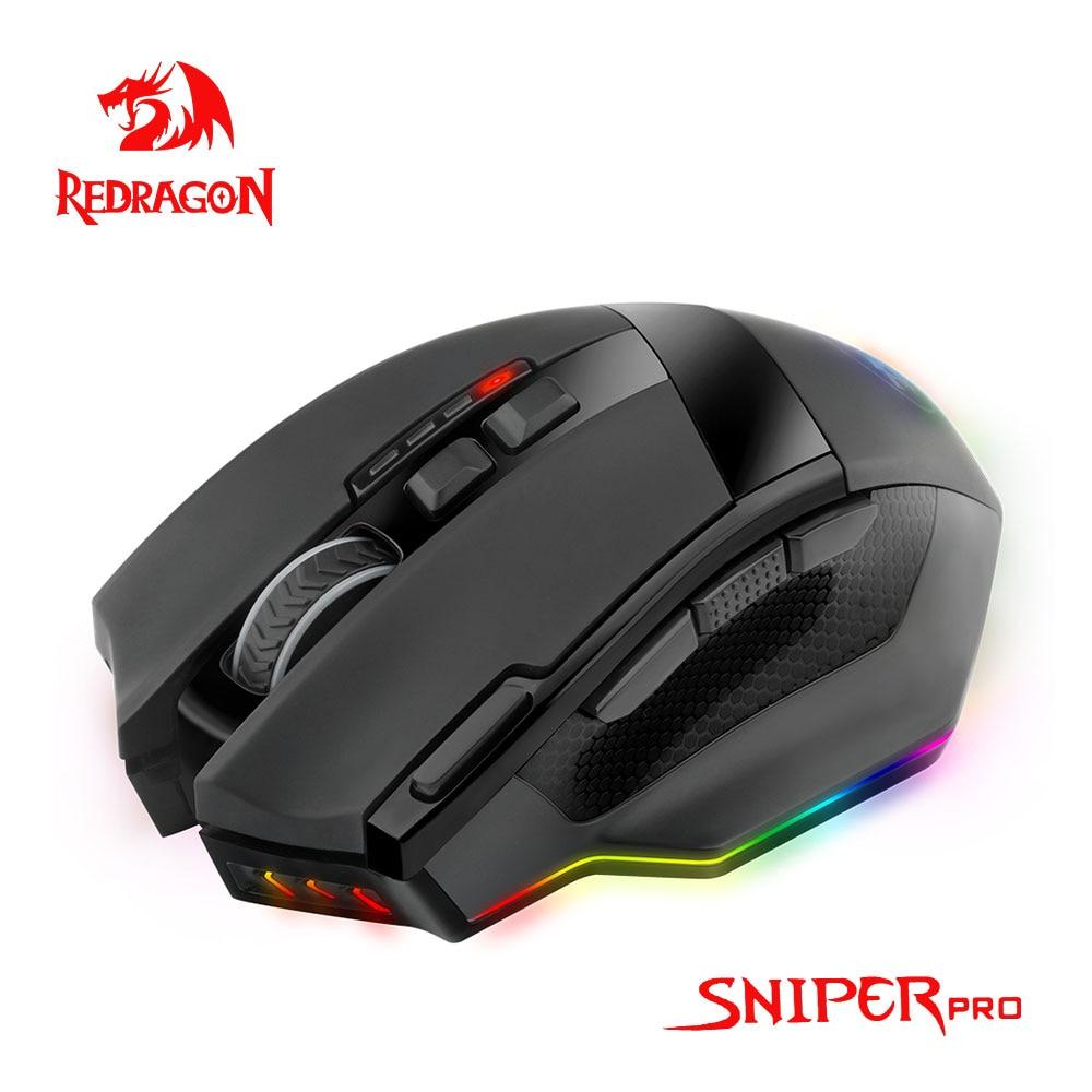 Redragon sniper pro m801p rgb usb 2.4g sem fio gaming mouse 16400dpi 10 botões ergonômico programável para gamer ratos computador portátil