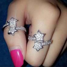 Милые регулируемые бриллиантовые кольца для женщин модные ювелирные