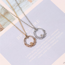 DIY Sweet Wreath Necklace For Women Girls Oval Hollow Rhinestone Gold Silver Pendant Suitable Harajuku Charm Jewelry Gifts 2019(China)