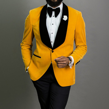 Yellow Velvet Wedding Tuxedo with Black Pants 2 Piece Slim Fit Men Suits for Prom African Male Fashion Blazer 2020