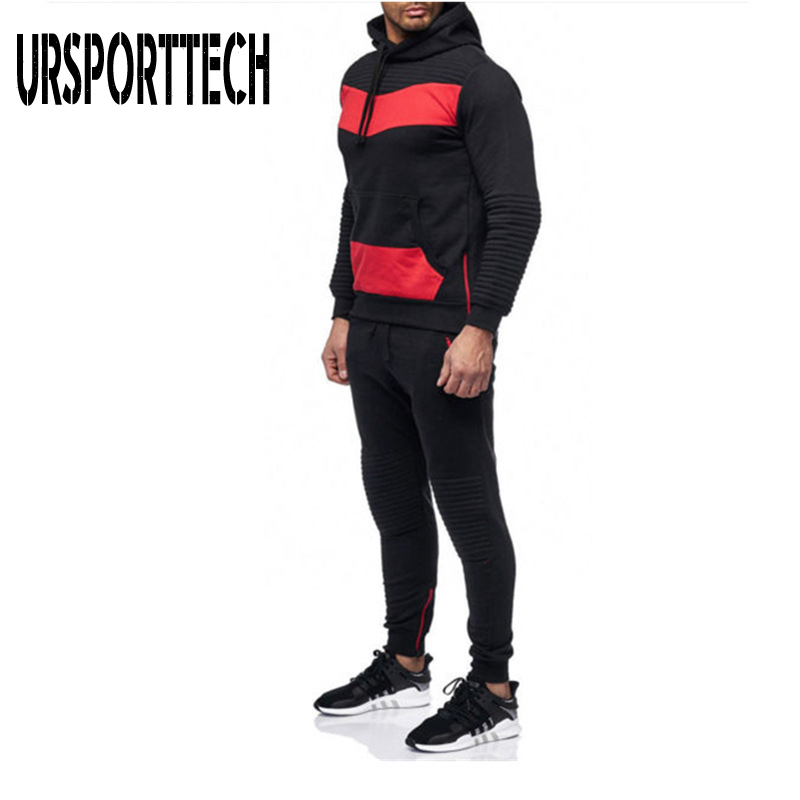 Mens Tracksuits Jogging Suit Patchwork Hoodies Set Man Pullover Hoodies and Sweatpants Male Work Out Jogger Set Gym Clothing
