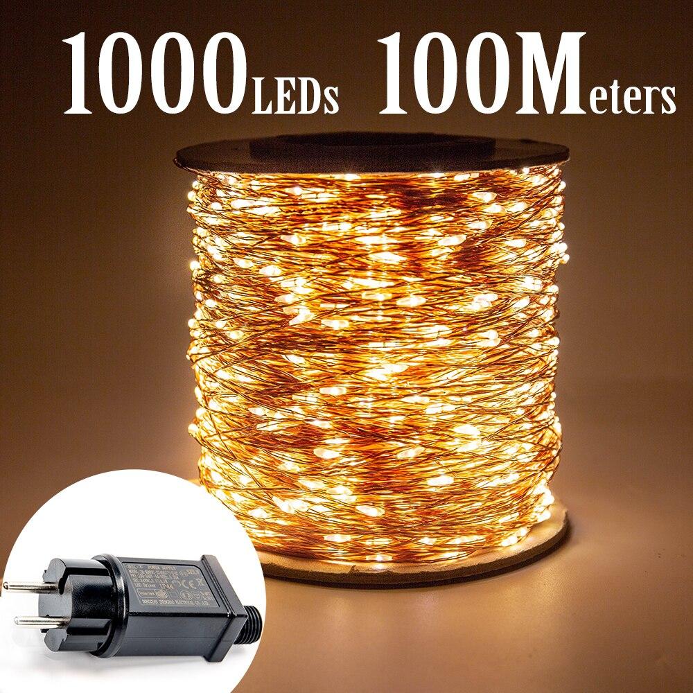 100 m 1000 leds fio de cobre luzes da corda de fadas wateproof plug in festa ao ar livre decoração de casamento do feriado cristmas