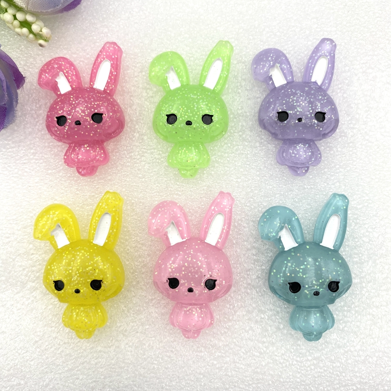 Baby Rabbit Shiny Resin Cute Animal Flat Back Cabochon 12 Pcs 20*33 Mm For Hair Clothing Shoes Planar Resin DIY Home Decoration