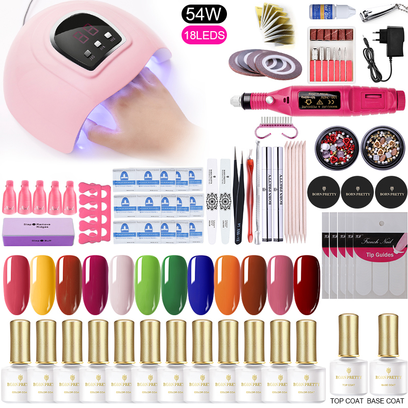 Nail Gel Polish Kit UV LED Lamp Dryer With 10pcs Nail Set Soak Off UV Gel Set Electric Nail Drill For Nail Art Manicure Tools