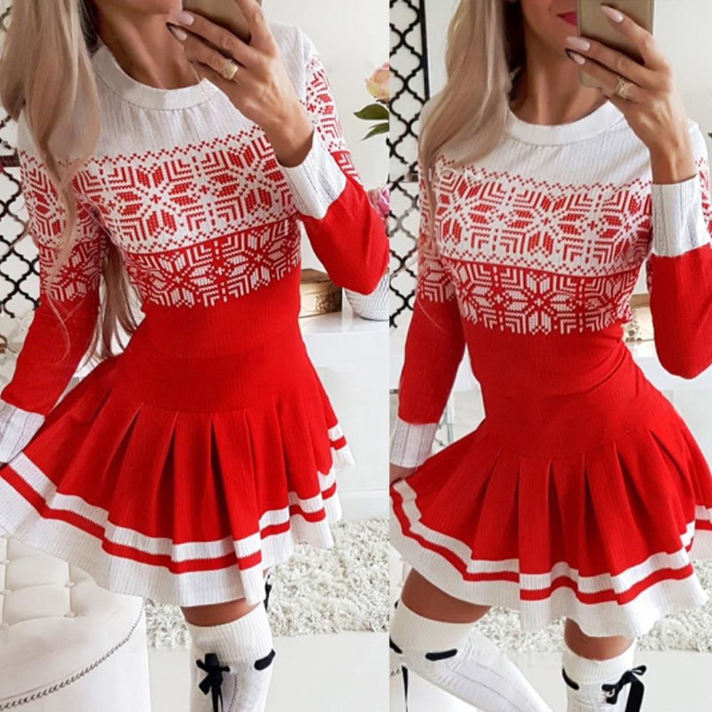 Merry Christmas O-Neck Mini Pleated Dress Fashion Dresses 2020 Winter Autumn Xmas Long Sleeve Christmas Women Party Dress D30