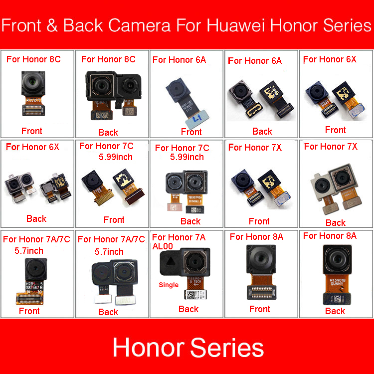 Front & Rear Back Camera Flex Cable For Huawei Honor Paly 6A 6X 7A 7C 7C 7X 8A 8C Pro 5.7in 5.99in BKK-AL00 BKK-TL00 BKK-AL10