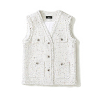 women elegant colorful sequins tassel sleeveless tweed vests v neck buttons pockets white knitted weave waistcoats y447