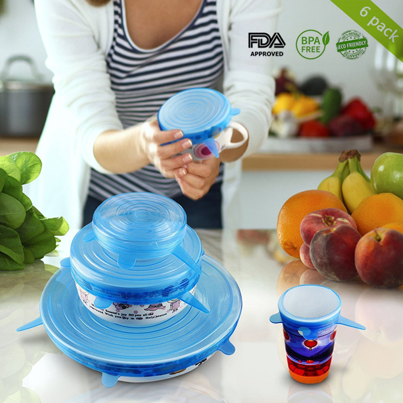 6pcs Silicone Food Lids Reusable Use Foldable Fruit And Vegetable Transparent Preservation Lid Kitchen Gadgets