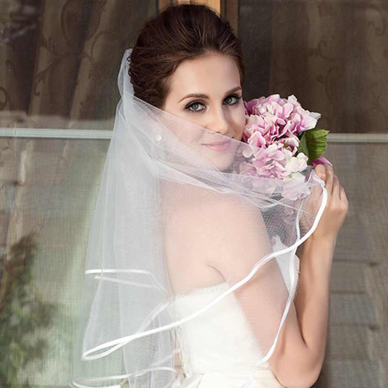 2019 פשוט קצר טול חתונת רעלות זול לבן שנהב כלה רעלה לכלה עבור Mariage חתונה אביזרים