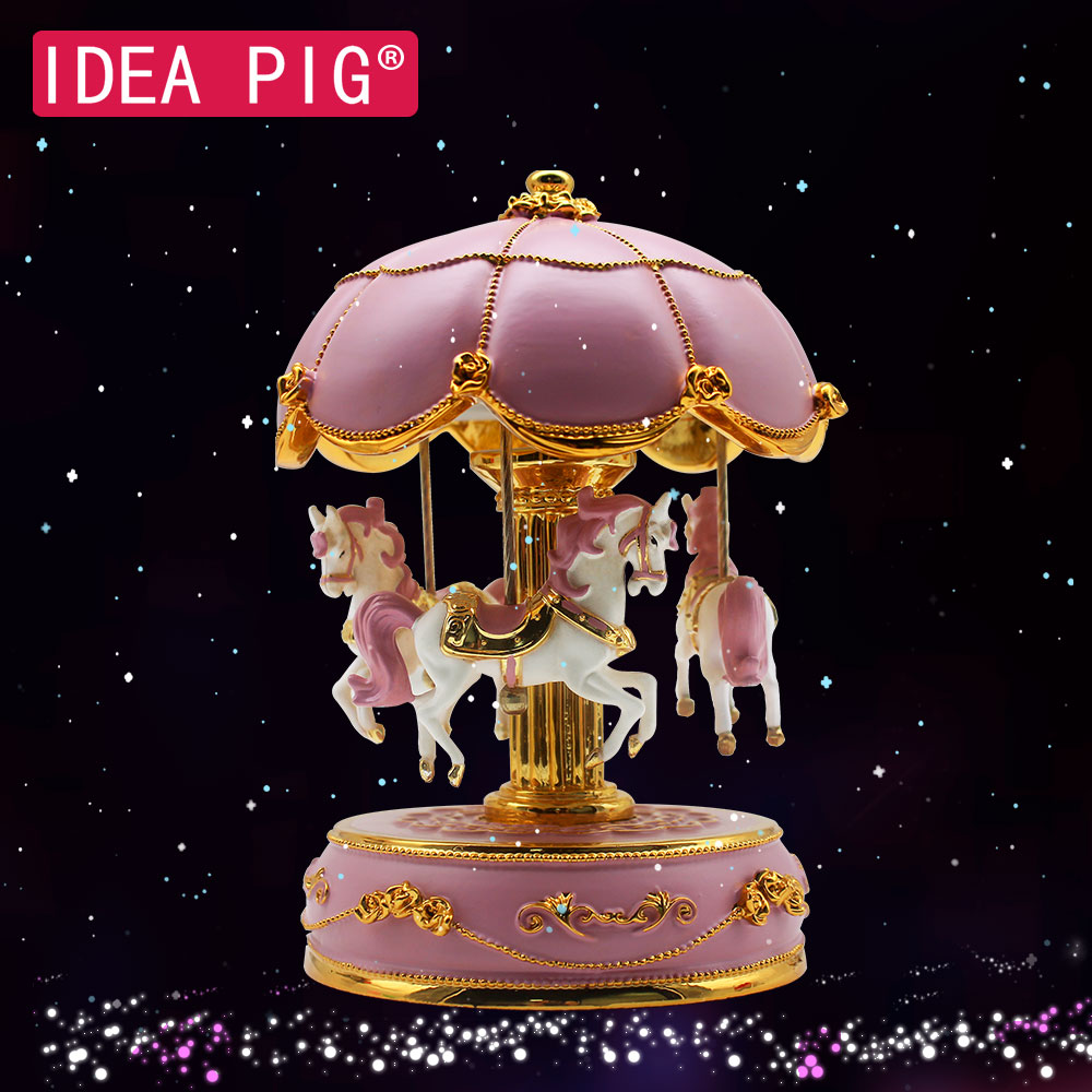 2019 Merry-go-round boîtes à musique bébé chambre décoration cadeaux en bois noël cheval carrousel boîte accessoires de décoration de la maison