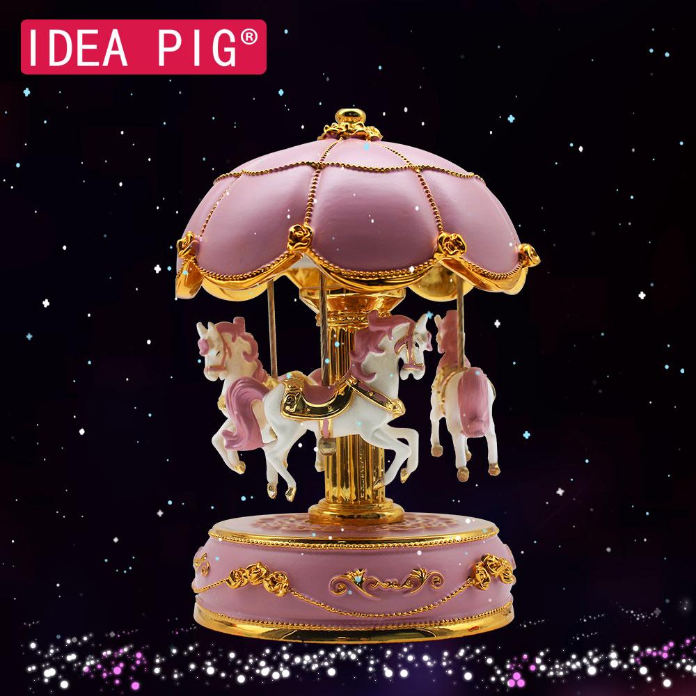 2019 Merry-go-round boîtes à musique géométrique musique bébé chambre décoration cadeaux unisexe en bois noël cheval carrousel boîte décor à la maison