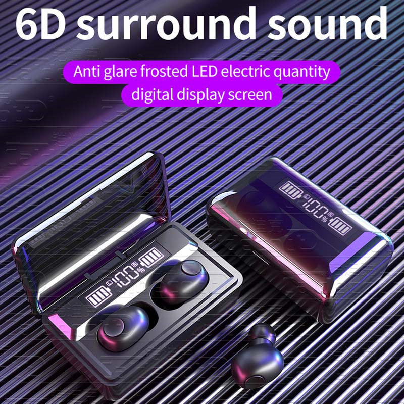 Ottwn <font><b>T8</b></font> <font><b>TWS</b></font> Wireless Bluetooth 5.0 Earphone Noise Cancelling Headphone Stereo Gaming Headsets LED Display 3500mAh Charging Case image
