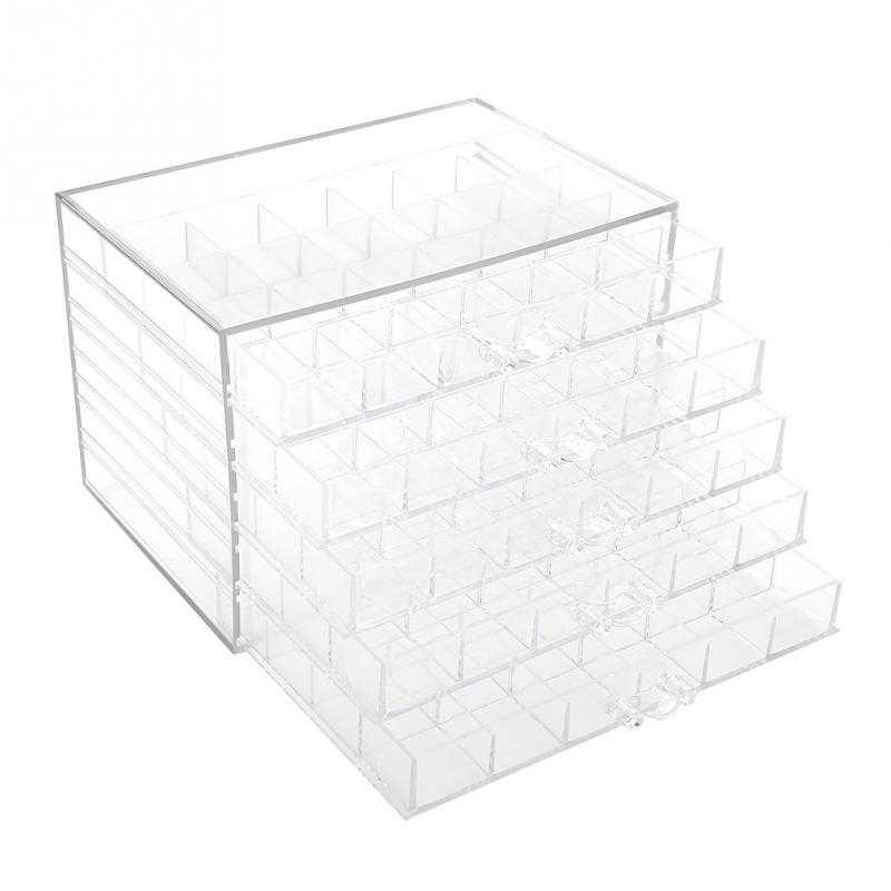 120 กริดโปร่งใสตกแต่งเล็บกล่องเก็บ Rhinestones ลูกปัดอุปกรณ์เสริมจอแสดงผลคอนเทนเนอร์เครื่องมือทำเล็บมือ