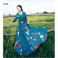 Blue Floral Maxi Dress Women Half Sleeve V Neck Long Dress With Belt Vintage A Line Dress Autumn Spring Country Style Vestiods