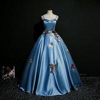 Elegant Blue Sweet 15 Dresses Sleeveless Sweetheart Quinceanera Dresses Ball Gown Long Vestidos De Quinceanera
