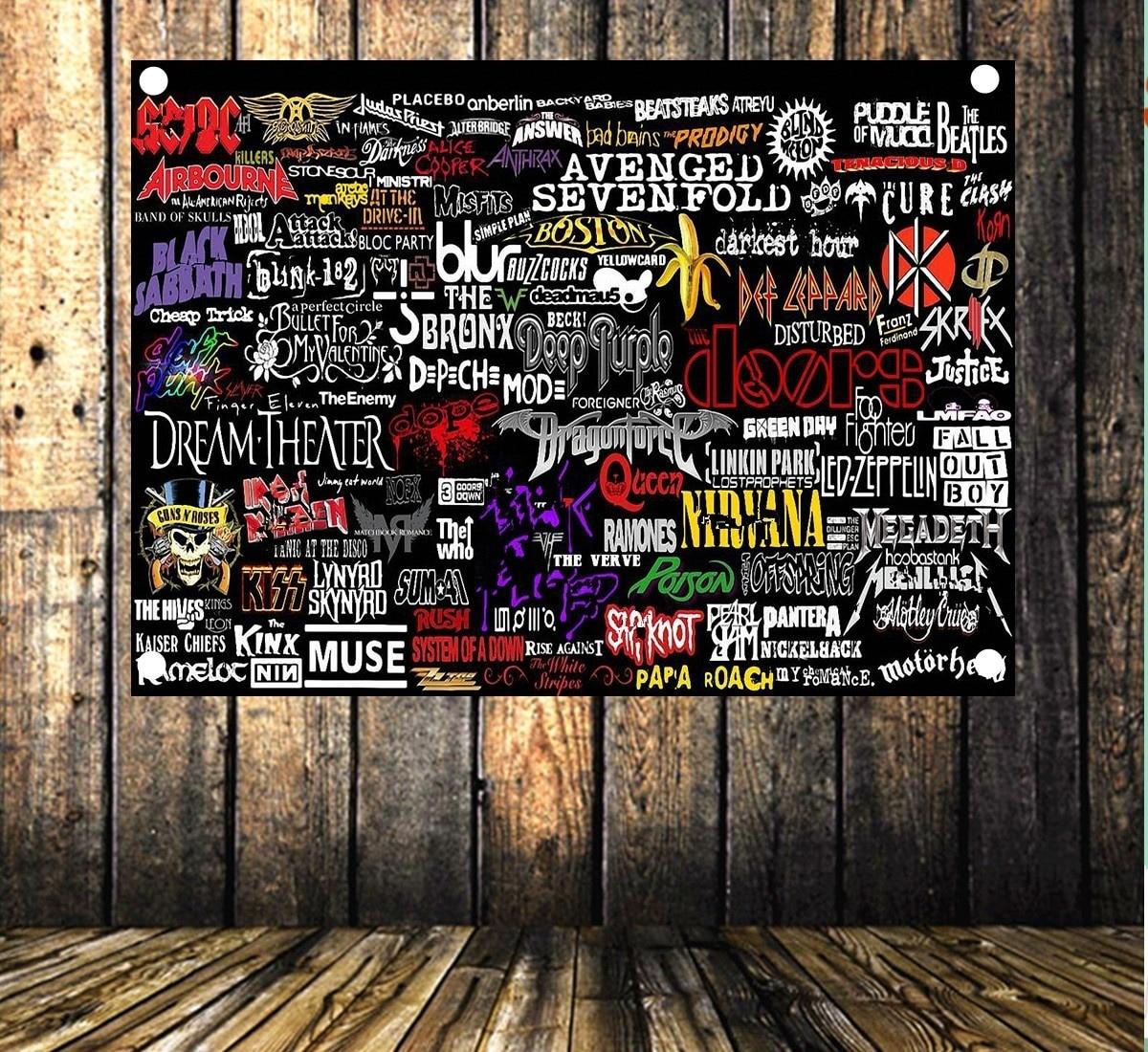 Rock and Roll Band LOGO Collection Heavy Metal musique affiche tissu drapeau et bannières 4 trous accrocher tissu barre café décor à la maison cadeau
