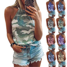 New Summer Fashion Women Sexy Tank Slim Casual Camouflage Print Sleeveless Halter Tops