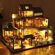 Diy casa de boneca brinquedos arquitetura japonesa casa de boneca casa primavera quente estilo japonês simulado villa brinquedo amante presente com lâmpada