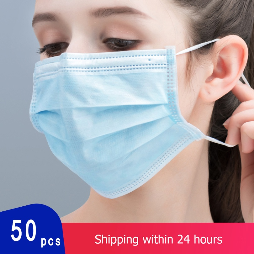 JING PING 3 Layers Protective Face Mask Breathable Elastic Earloop Filter Safety Dustproof Anti-Dust Mask KN90 10/20/30/50 Pcs