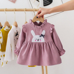Bordado bebê criança menina vestido primavera outono vestido de princesa adorável algodão longo-mangas compridas menina roupas tutu coelho a linha vestidos