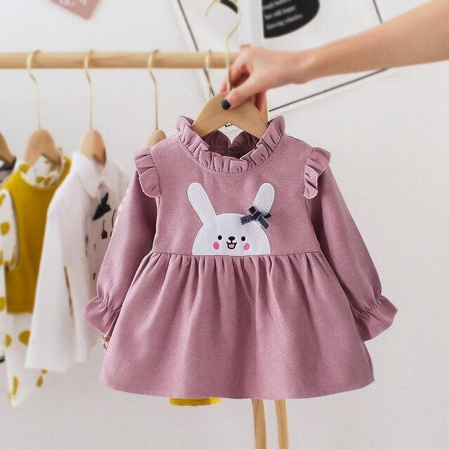 Haftowane dziecko Kid dziewczyna sukienka wiosna jesień księżniczka sukienka piękne bawełniane z długim rękawem dziewczyna odzież Tutu królik sukienki a-line
