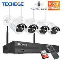Techege Drahtlose CCTV System 1080P Audio Record 2MP 4CH NVR Wasserdichte Outdoor WIFI CCTV Kamera System Video Überwachung Kit