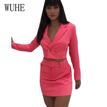 WUHE New Fashion 2 Pieces Sets Women Blazers Top and Mini Dress Long Sleeveless Work Office Lady Outfits Sexy Club Clothes