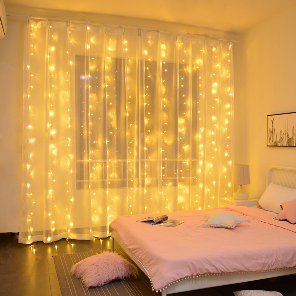 Remote Control Icicle Curtain Fairy Lights Christmas Lights LED String Lights Garland Party Garden Street Wedding Decoration