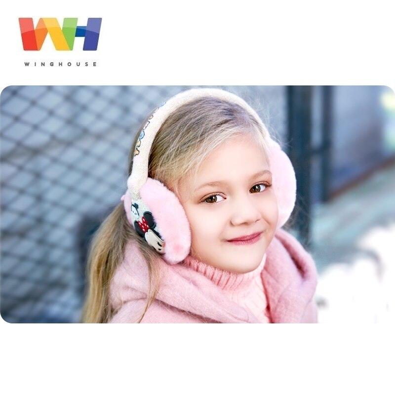 Winghouse Children Earmuffs Disney Minnie Mouse Cartoon Cat Ear Bags Girl Warm Windproof Earplugs Winter Headphones Ear Covers