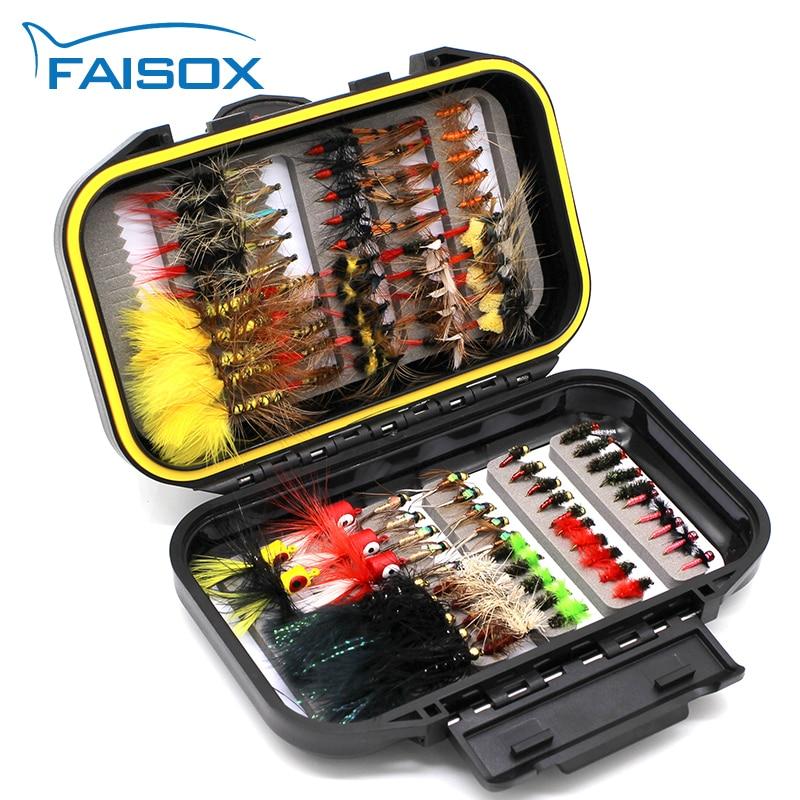 FAISOX Fly Fishing Flies Assortment Kit 100pcs Dry Wet Nyphms Popper Streamer for Trout Bass Steelhead Fish