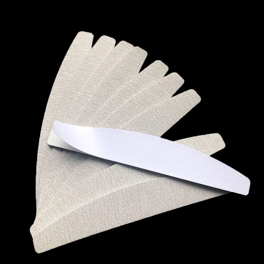 10 pçs almofadas removalble zebra durável arquivo de unhas substituição de lixa almofadas forma halfmoon prego arquivo 100/180/240