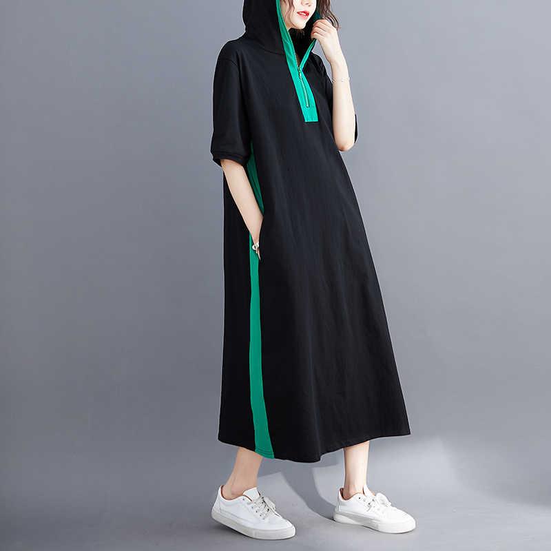 NYFS 2020 חדש קיץ שמלת כותנה סלעית ליידי Vestidos נשי מזדמן רופף גדול גודל רוכסן ארוך שמלה שחור Vestidos Robe