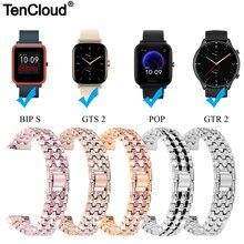 Pulseira de pulso para amazfit gts 2 mini gtr 2 2e esim pulseira de relógio para amazfit bip s/u pro pop pulseira de cinto de aço inoxidável loop