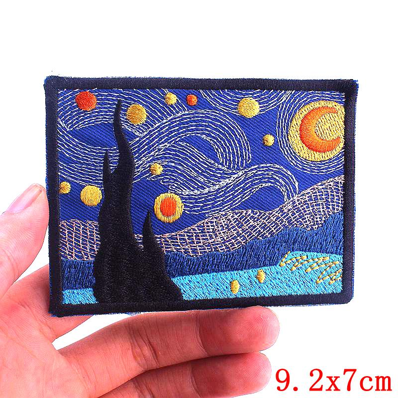 Prajna Van Gogh Parches Camp Embroidery Patches for Clothes Iron On UFO Patches For Clothing DIY Stripes Mountain Wave Stickers-1