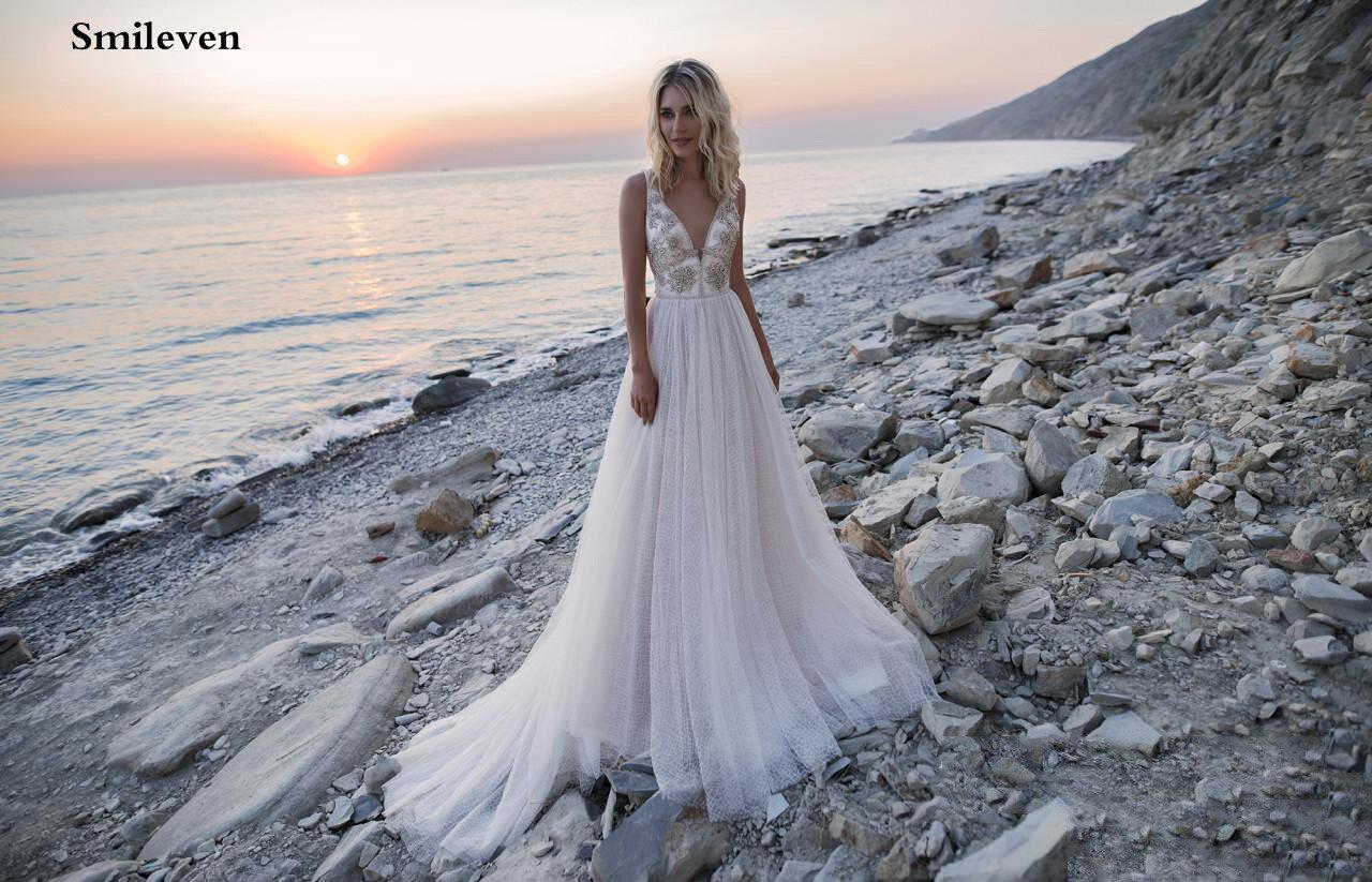 Smileven Double Shoulder Princess Wedding Dress Beach 2020 Boho Crystal Bride Dresses vestido de casamento A Line Wedding Gowns in Wedding Dresses from Weddings Events