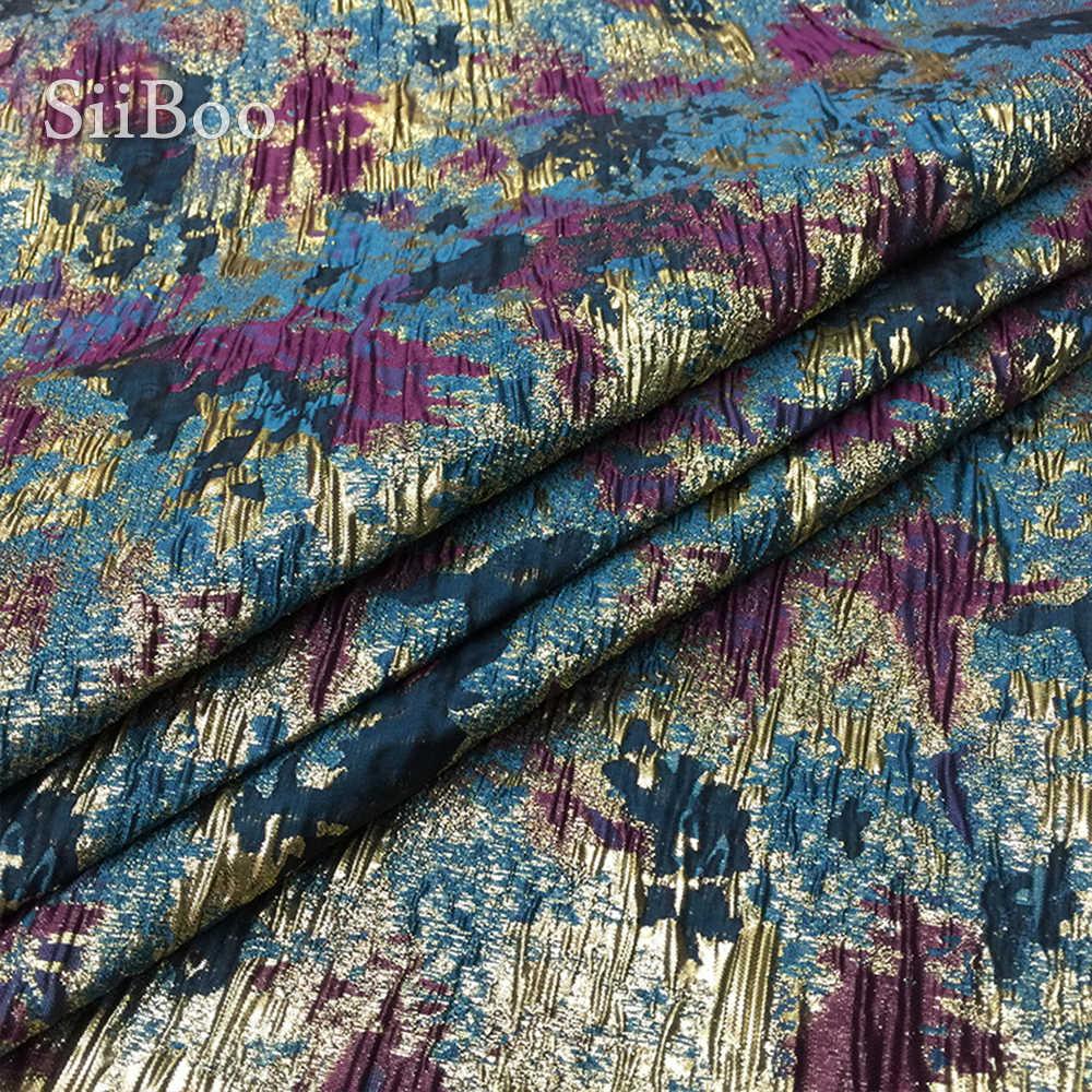 アメリカンスタイルの豪華な抽象花ポリエステルメタリックジャガードプリーツ生地ドレスティッシュ布テラ tejido stoffen SP5440