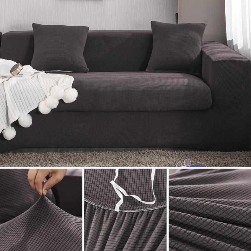 Solid Color Velvet Sofa Covers For Living Room Elastic Couch Cover For Armchair Chaise Lounge Stretch Sectional Sofa Protector