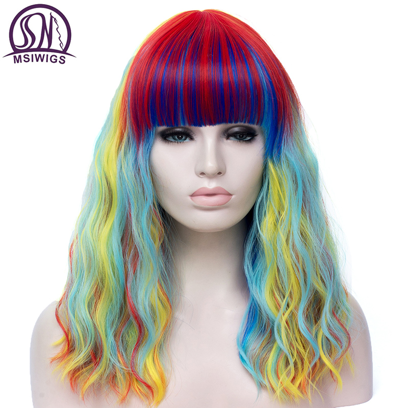 MSIWIGS Lolita Long Wavy Rainbow Wig With Bang High Temperature Fiber Synthetic Cosplay Wigs For Girls Halloween