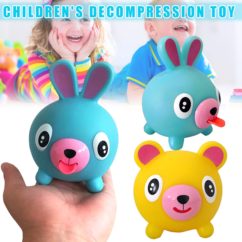 Newly Talking Animal Jabber Ball Tongue Out Stress Relieve Soft Ball Toy For Kids Adult S66